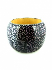 Black and White Speckled Wide Resin Bangle